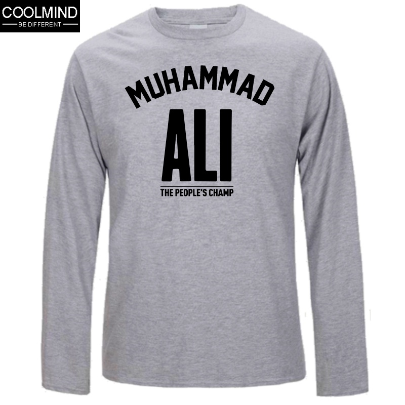 3d3a487c ... Top Quality Cotton Muhammad Ali Long Sleeve Men Tshirt Casual Mens  O-Neck T Shirts ...