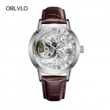 2018 New OBLVLO Brand Fashion Watches Skeleton Automatic Watches Steel Genuine Leather Strap Mens Wrist Watches OBL8238