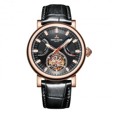 Reef Tiger Luxury Brand Mens Watches Rose Gold Black Dial Sapphire Glass Automatic Watches Brown Leather Strap Watch RGA1950