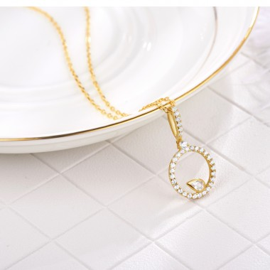 New Pendants Stylish Circle Necklace Rose Gold S925 Silver Chain Necklace For Women Fine Jewelry
