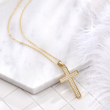 2019 New Fashion 925 Sterling Silver Pendants Necklaces Charms Cross Necklaces For Women Rose Gold Trendy Female Party Girl Jewelry
