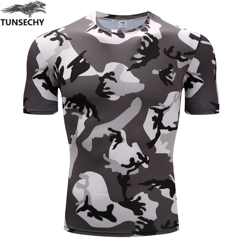 US Men MILITARY Camouflage T-Shirt Quick Dry Short Sleeve Compression Tee Shirt