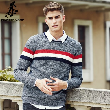 Pioneer Camp Top Quality Brand New Fashion Men Sweaters And Pullovers Famous Brand Spliced Casual Sweater Plus Size M-3XL 611203