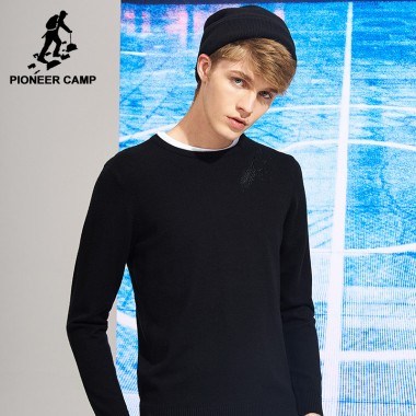 Pioneer Camp New Style Solid Black Sweater Men Brand-Clothing Simple Design Casual Knitted Pullovers Top Quality AMS702431