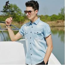 Pioneer Camp 2017 Summer Denim Shirt Men Cotton Soft&Amp;Comfortable Men Shirt Jeans Straight Light Blue Casual Shirt Male 555002