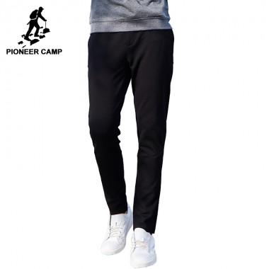 Pioneer Camp Knitted Pants Men Brand Clothing Solid Drawstring Trousers Straight Casual Quality Pants For Men Black AZZ701213