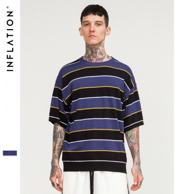 INFLATION 2018 Spring Summer Black Purple Striped Short Sleeve Sweater Mens Sweaters O-Neck Casual Loose Mens Sweaters 8175S