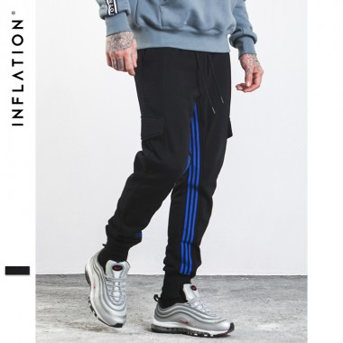 INFLATION 2017 Autumn Men Casual Sweatpants Elastic Waist Streetwear Pants With Side Pockets 331W17