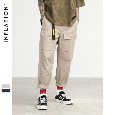 INFLATION 2018 New Arrivals Big Pocket Cargo Pants Man Trousers Casual Cargo Pants Plus Size Cotton Trousers Multi Pocket 8402S
