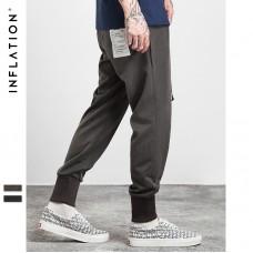 INFLATION 2017 Autumn Mens Joggers Casual Pants Woven Fabrics High Ribbing Elastic Belt Thin Men Pants 327W17