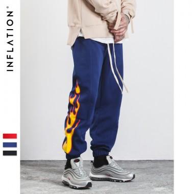 INFLATION 2017 New Autumn Mens Sweatpants Side Stripe Jogger Pants Printing Elastic Waist Vintage Casual Mens Pants 358W17