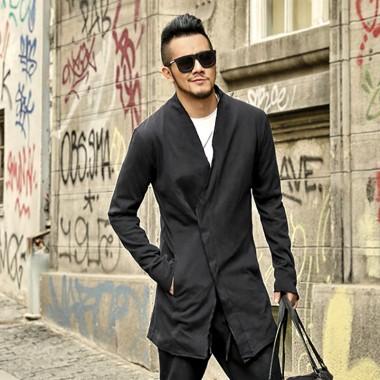 2017 Men New British Style Black Slim Long Version Suit Coat Mens Cardigan Cotton Casual Fashion Winter Brand Design Cardigan