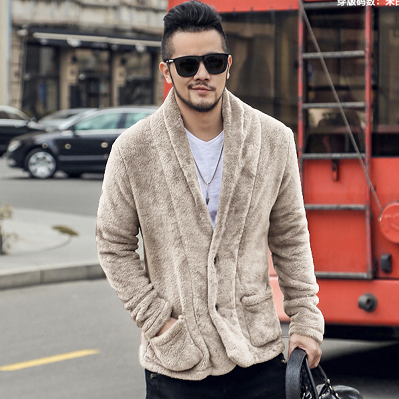 9127a3ff94 ... Men New Winter Plush Furry Suit Cardigan Metrosexual Men Slim Cashmere  American Style Warm Jacket Cardigan ...