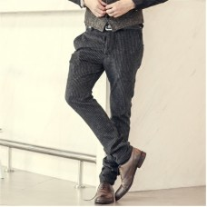 2019 New Winter Brown Corduroy Stripes Mens Pants Casual Fashion Mens Winter Pants Business Trousers Pantalones Hombre K1038