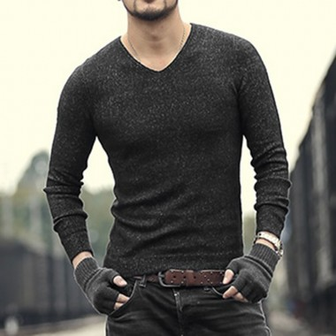 2017 New Men Winter Mixed Color Slim Warm European Style V Neck Sweaters Metrosexual Men Brand Cotton Woolen Casual Pullovers