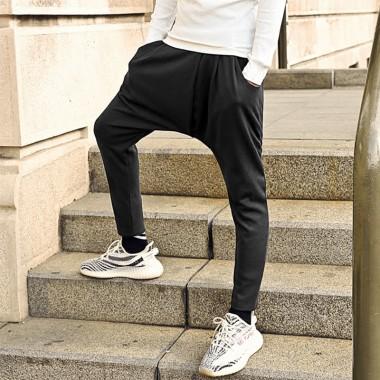 2017 Men Black Cotton Slim Fashion Casual Long Pants Metrosexual Men European Style Joggers Pants Brand Design Autumn Trousers