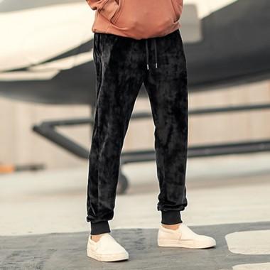 2018 Men New Winter Slim Vertical Velvet Sweatpants Metrosexual Men Leisure Fashion Soft Striped Long Pants Trousers Fashion