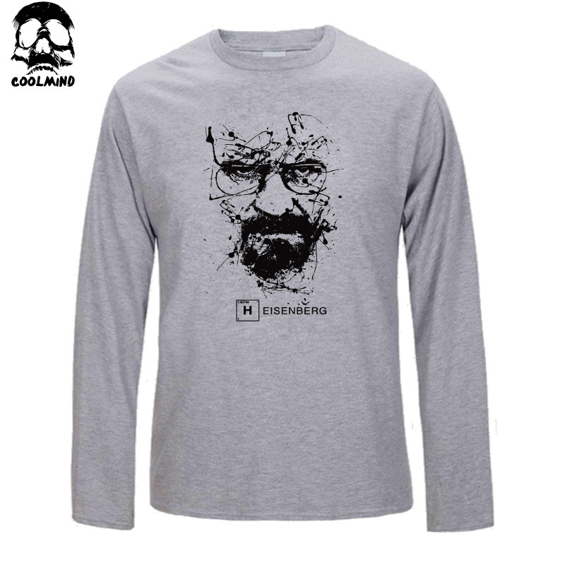 Mens Breaking Bad Heisenberg Embroidered Long Sleeve Polo Shirts