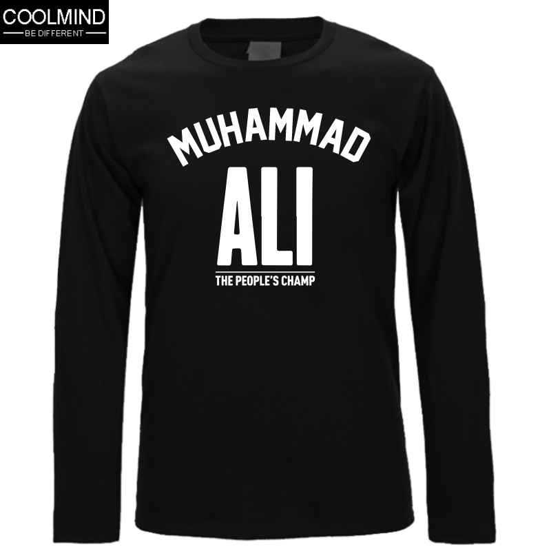 747ad22e Top Quality Cotton Muhammad Ali Long Sleeve Men Tshirt Casual Mens O-Neck T  Shirts Fashion Mens Tee Shirts Tops