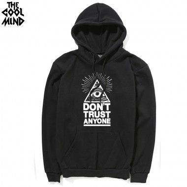 THE COOLMIND Casual Cotton Blend Do Not Trust Anyone Printed Thick Men Hoodies With Hat Fleece Warm Loose Men Sweatshirts