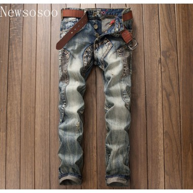 European American Style Luxury Quality Mens Slim Jeans Mens Denim Trousers Straight Vintage Fashion Brand Blue Jeans For Men