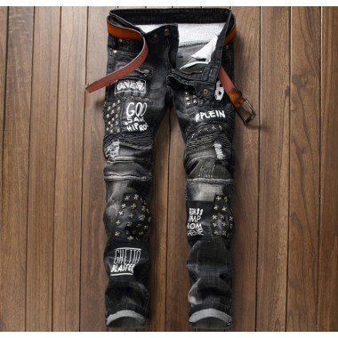 European American Style Mens Jeans Slim Denim Trousers Straight Luxury Brand Fashion Mens Black Patchwork Pleated Jeans Pants