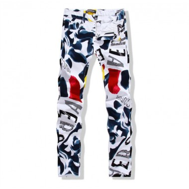 Big Size 2016 Fashion Brand Mens Casual Pants Painted Pop Luxury Mens Pencil Pants Gentleman White Skinny Trousers Size 40