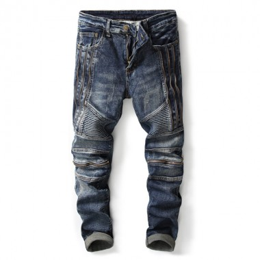 European American Style Fashion Brand Men Jeans With Zippers Mens Casual Denim Trousers Blue Slim Straight Jeans For Men