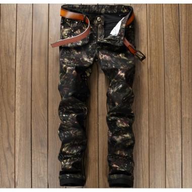 European American Style Fashion Brand Mens Casual Pants Skinny Luxury Trousers Cotton Black Zipper Print Nightclub Mens Pants
