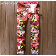 39c7f22790ab45 New Nightclub Style Mens Jeans Luxury Brand Men Jeans Trousers Colorful  Print Slim Straight Zipper Jeans