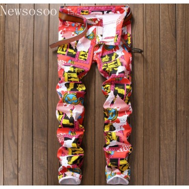 New Nightclub Style Mens Jeans Luxury Brand Men Jeans Trousers Colorful Print Slim Straight Zipper Jeans Pants For Men Pink Blue