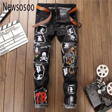 European American Style Mens Jeans Slim Denim Trousers Straight Famous Brand Mens Black Patchwork Zipper Embroidery Jeans Pants