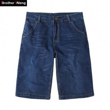 Brother Wang Summer Mens Denim Shorts 2018 New Fashion Leisure Men Elastic Skinny Jeans Plus Size Shorts Brand 38 40 42