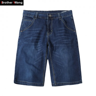 Brother Wang 2018 New Summer Mens Denim Shorts Fashion Casual Elasticity Blue Slim Thin Jeans Male Brand Clothes