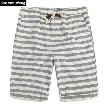 Brother Wang Brand 2018 Spring And Summer New Mens Shorts Fashion Casual Bermuda Striped Beach Straight Loose Cotton Shorts 310