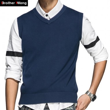 2017 New Mens Knitted Vests V-Neck Sweater Fashion Casual Business 100Cotton Sleeveless Sweater Brand Clothes