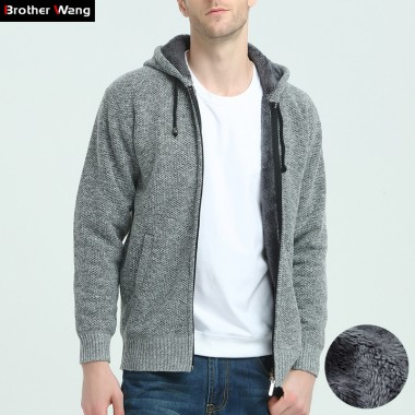 Brother Wang Brand 2017 Winter New Mens Cardigan Sweater Fashion Casual Zipper Thick Warm Hooded Sweater Coat Jacket