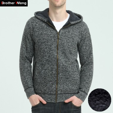 Brother Wang 2017 Winter New Men Thick Cardigan Sweater Casual Hooded Long-Sleeved Knitted Jacket Zipper Sweater Brand