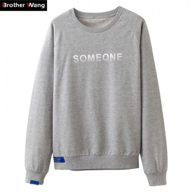 Brother Wang Autumn New Casual Men Sweatshirt Fashion Simple Letters Printed Round Neck Pullover Brand Clothes