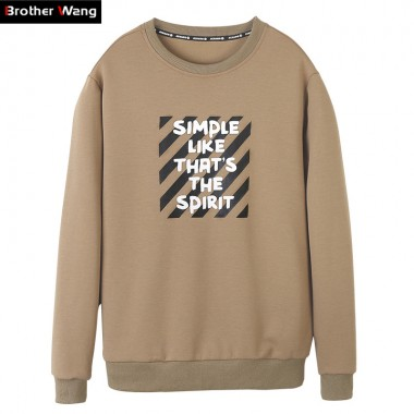 Brother Wang 2017 Autumn New Mens Letter Pattern Printing Brand Sweatshirt Casual Fashion Round Neck Pullover