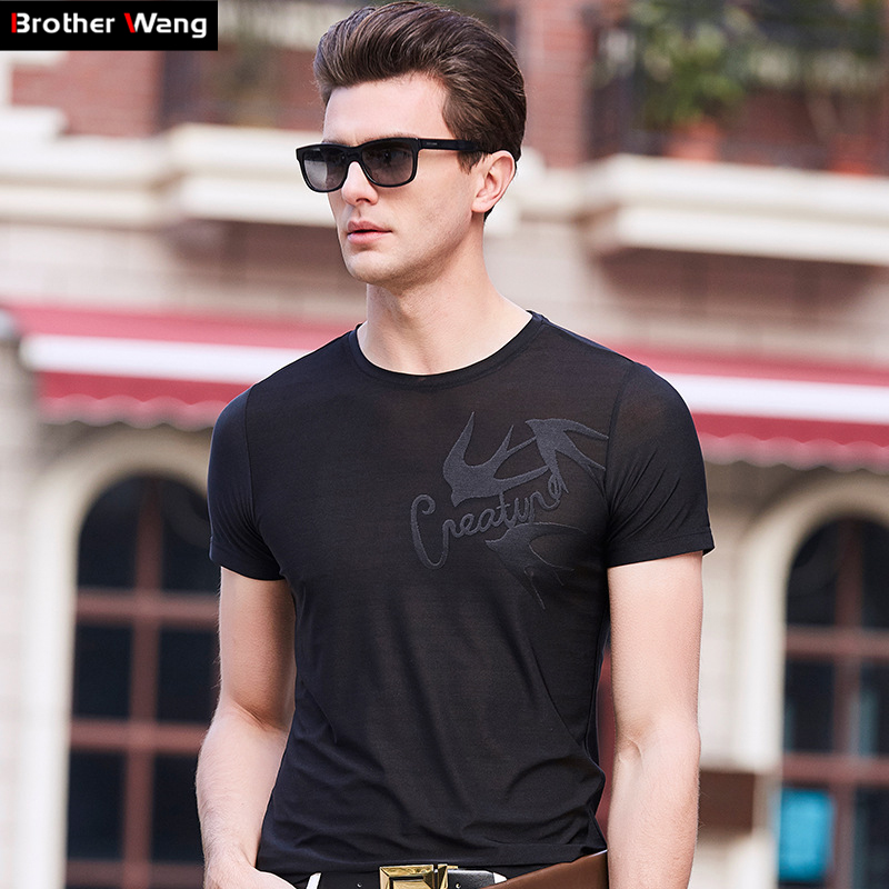 2d57c270cfb9 Brother Wang Brands 2018 Summer New Mens Casual T-Shirt Fashion Printing  Slim Short-Sleeved T Shirt Male Tops Clothes