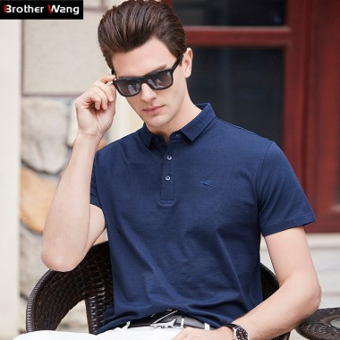 Brother Wang Brands Mens Business POLO Shirt 2018 New Summer Casual Horse Embroidery Short Sleeve Polo Blouse Male Clothes