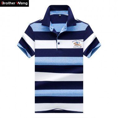 Brother Wang Brands 2018 Summer Mens POLO Shirt Business Casual Embroidery Stripe Short Sleeve Polo Blouse Tops Male Clothes