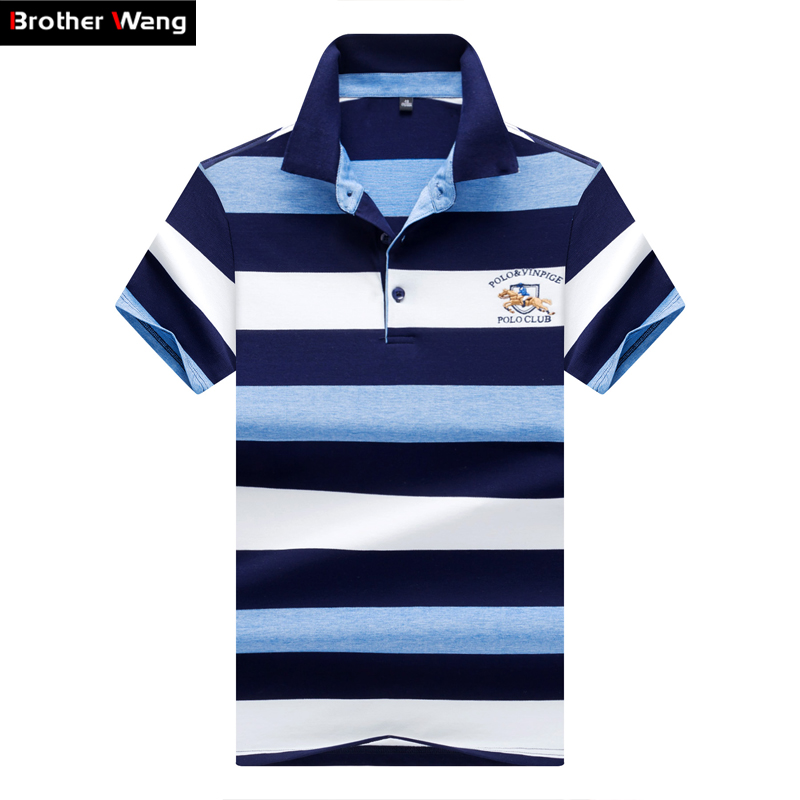 97781286eb3 Brother Wang Brands 2018 Summer Mens POLO Shirt Business Casual Embroidery  Stripe Short Sleeve Polo Blouse Tops Male Clothes