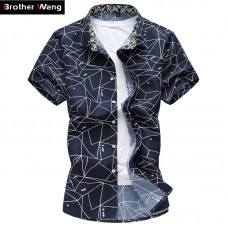 2017 Summer New Men Shirt Fashion Plaid Printing Male Casual Short Sleeve Shirt Large Size Brand Mens Clothing 5XL 6XL 7XL