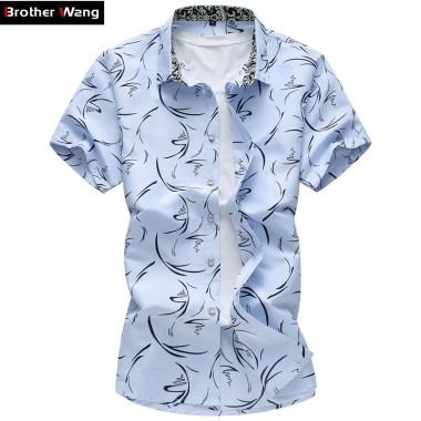 2017 Summer New Large Size Men Shirt 6XL 7XL Male Casual Print Short Sleeve Shirt Hawaii Shirt Brand Mens Clothing