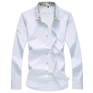 Mens Shirts 6XL 7XL 8XL Floral Collar Business Casual Long - Sleeved Shirt Autumn And Winter New Plus Size Slim Mens Shirts