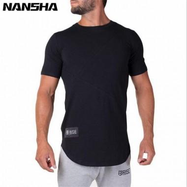 NANSHA 2018 Summer New Fashion Men Gyms Cotton T-Shirt Fitness Bodybuilding Men Short Sleeve High Quality T-Shirt Tee Tops