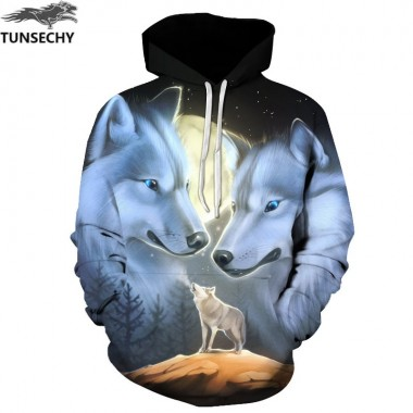TUNSECHY Hot Sale Brand Wolf Printed Hoodies Men 3D Sweatshirt Quality Plus Size Pullover Novelty S-3XL Male Hooded Jacket