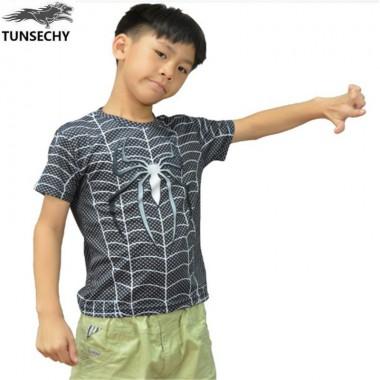 TUNSECHY 2018 Spiderman Superman Boys Clothing T-Shirt Brand Short Sleeve Child Super Hero Batman Children Summer Tops T-Shirt
